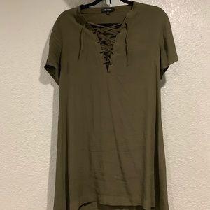 Madewell XS olive green silk mini dress